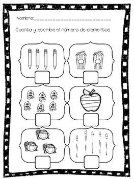 Números 1-6 Repaso/Práctica Spanish Immersion
