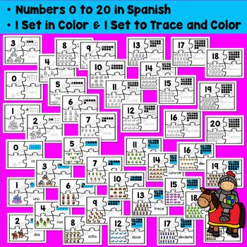 Spanish Numbers: Rompecabezas de Los Números - Fairy Tale Counting Puzzles
