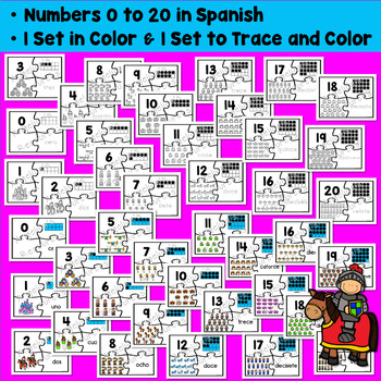 Spanish Numbers: Rompecabezas de Los Numeros - Fairy Tale Counting Puzzles