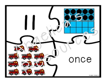Spanish Numbers: Rompecabezas de Los Números -Firefighter Counting Puzzles