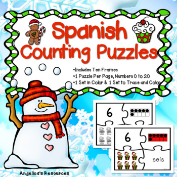 Spanish Numbers: Rompecabezas de Los Números -  Christmas Counting Puzzles