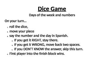 Numeros/Dias Dice Game