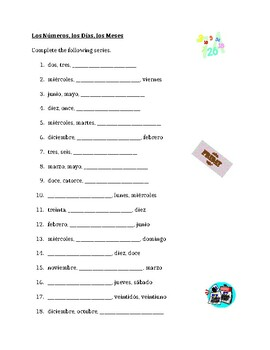 n meros d as meses numbers days months in spanish worksheet by jer520. Black Bedroom Furniture Sets. Home Design Ideas