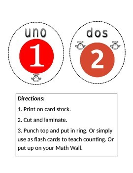 Numeros ELL Flash Cards