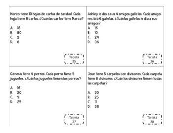 3rd Grade Math Whole Numbers Task Cards in Spanish