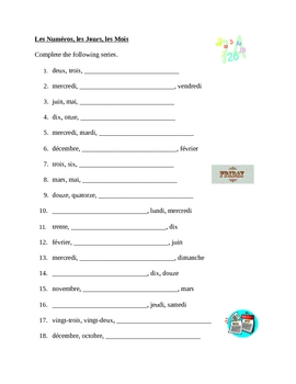 Numéros, Jours, Mois (Numbers, Days, Months in French) worksheet