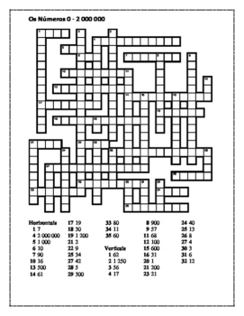 Números (Numbers 0 to 2,000,000 in Portuguese) crossword