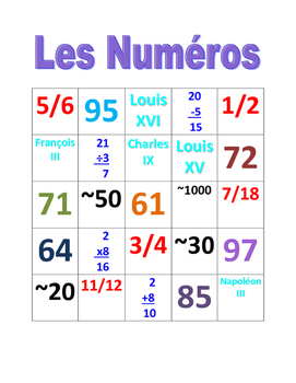 Numéros (Numbers in French) Bingo Cardinal numbers, Ordinal numbers, Fractions