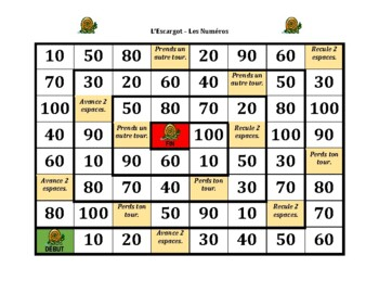 Numéros (Numbers in French) Escargot Snail Game