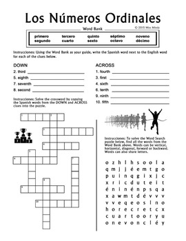 Numeros Ordinales - Spanish Ordinal Numbers 1-10 Crossword / Word Search Puzzles
