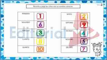 Números Ordinales para Niños Material para Imprimir