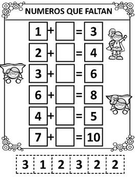 Numeros Que Faltan- Matematicas- Missing Numbers- Sumas - Addition