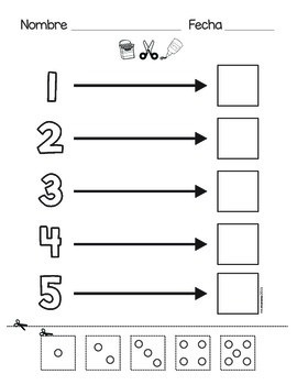 Numeros del 1 al 5. Numbers 1 to 5 (Spanish and English)