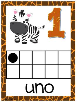 Números del 1 al 100 Motivo Safari