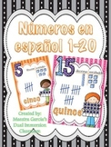 Numeros en español / Numbers in Spanish 1-20 (Large Cards)