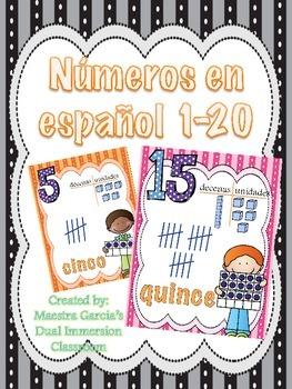 Numeros en español / Numbers in Spanish 1-20 (Large Cards)