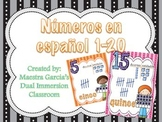 Numeros en español / Numbers in Spanish 1-20 (Small Cards)