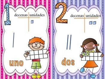 Numeros en español / Numbers in Spanish 1-20 (Small Cards)