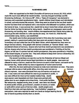 Nuremberg Laws, Jews in Germany in World War II, article,
