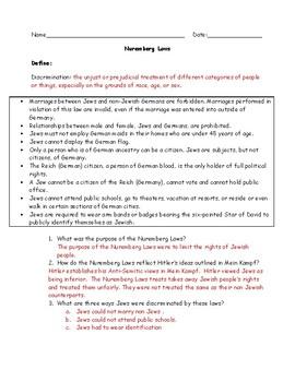 Nuremberg Laws Worksheet with Answer Key