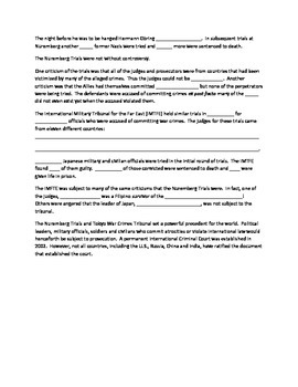 Nuremberg Trials and the Tokyo War Crimes Tribunal