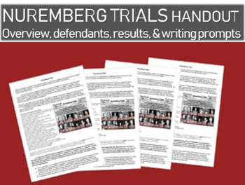 Nuremberg Trials handout: overview, defendants, results and writing prompts