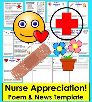 Nurse Appreciation News!  - Templates to Write and Publish + Nurse Poem