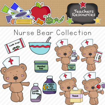 Nurse Bear Clipart Collection || Commercial Use Allowed