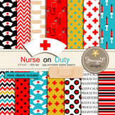 Nurse Medical digital paper and clipart