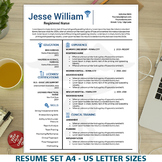 Nursing Resume Template, Medical Resume Instant Download, Nurse CV Cover Letter
