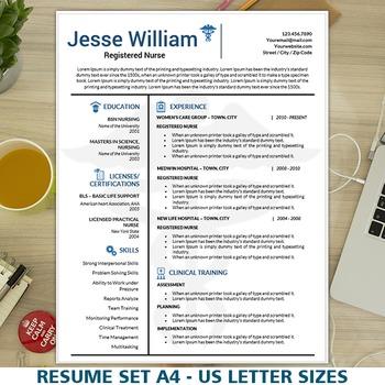 Nursing Resume Template, Medical Resume Instant Download, Nurse CV Cover  Letter