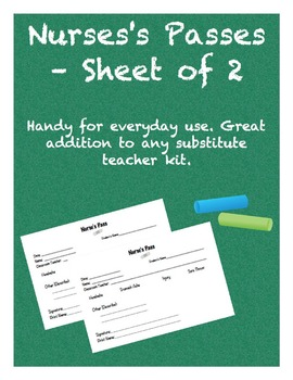 Nurse's Passes - Sheet of 2
