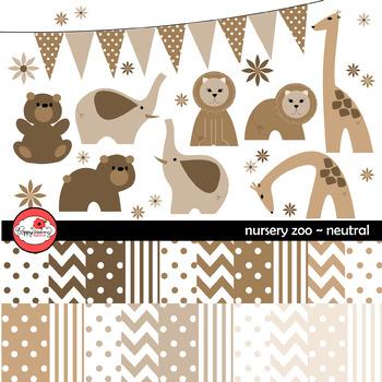 Nursery Neutrals Clipart and Digital Paper by Poppydreamz