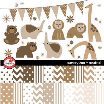 Nursery Neutrals Clipart and Digital Paper by Poppydreamz