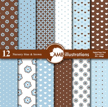 Digital Papers - Nursery Paper and backgrounds Blue and Brown, AMB-836