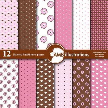 Nursery Papers and backgrounds Pink and Brown, AMB-837