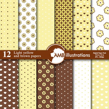 Digital Papers - Nursery Papers and backgrounds Yellow and Brown, AMB-839