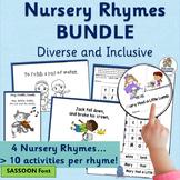 Nursery Rhyme Activities MEGA-BUNDLE for 4 Rhymes (SASSOON Font)