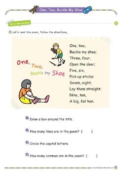 Nursery Rhyme Activities : One Two Buckle My Shoe *Printables