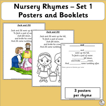 Nursery Rhyme Activities: Posters and ¼ fold Booklets SET 1 (SASSOON)