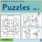 Nursery Rhymes Activities - Printable Puzzles for 4 Rhymes!  (SASSOON Font)