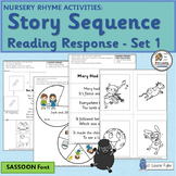 Nursery Rhymes Activities - Sequencing and Retelling for 4 Rhymes (SASSOON Font)