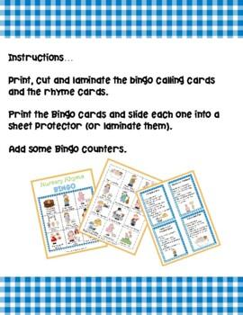 Nursery Rhyme Bingo & Matching