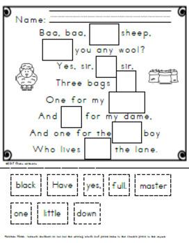 Nursery Rhyme Concept of Word Activities