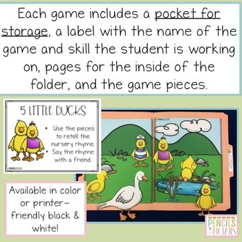 Nursery Rhyme File Folder Games - Practice Retelling the Poem
