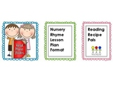 Nursery Rhyme Five Day Lesson Plan Format