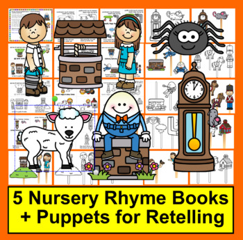 Nursery Rhyme Foldable Books (Set 1) 5 Books + Puppets and Props for Retelling