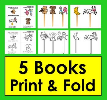 Nursery Rhyme Foldable Books (Set 2)  5 Books + Puppets and Props for Retelling