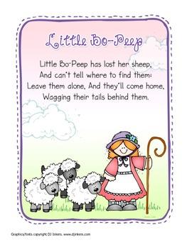 Nursery Rhyme Fun Packet 1:  Bo Peep;  Boy Blue;  Mary, Mary; Hey Diddle Diddle