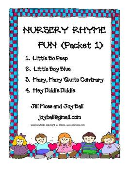 Nursery Rhyme Fun Packet 1:  Bo Peep;  Boy Blue;  Mary, Ma